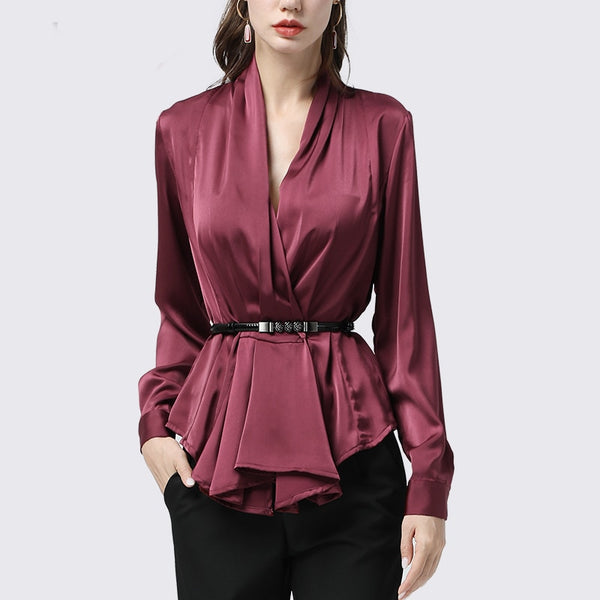 Real Silk Pleated Long Sleeve V-Neck Blouse S - 4XL  - Zaida Fashions