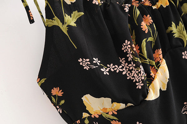 Black Floral Spaghetti Strap Mini Dress S to L