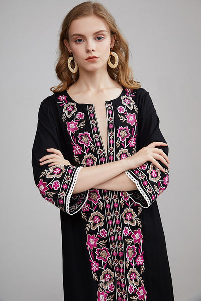 Black White Embroidery Beach Dress S to XL