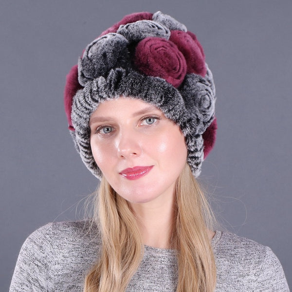 Winter Fur Flowers Beanies Hats