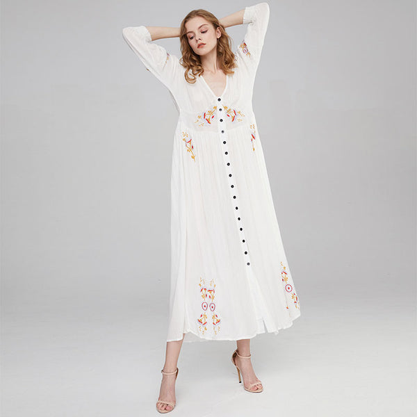 V Neck Boho Embroidery A Line Beach Dress S to XL