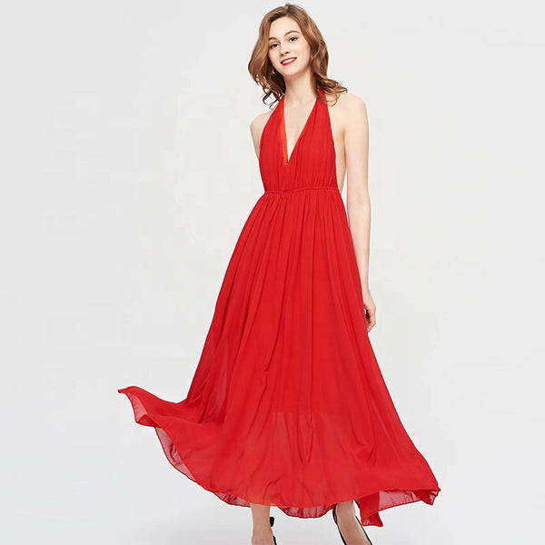 Red Boho Style Chiffon Summer Casual Dress S to 2XL