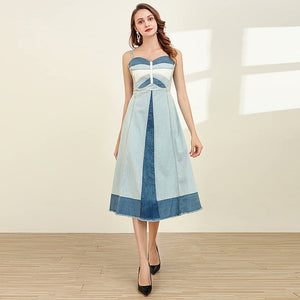 Sky Blue Denim Midi Dress S to XL
