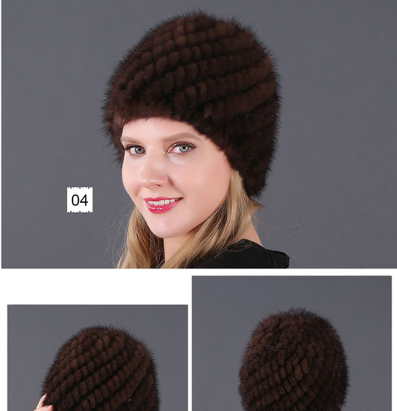 Mink Fur Winter Knitted Beanies Caps