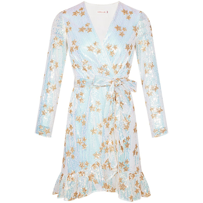 V-neck Full Sleeves A-line Floral Mini Dress S to L