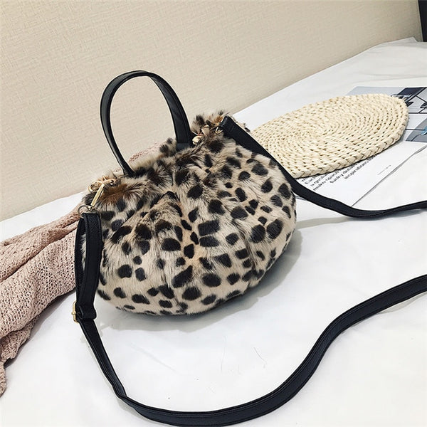 Winter Artificial Plush Leopard Handbag  - Zaida Fashions