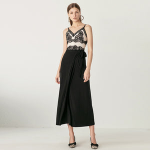 Black Spaghetti Strap Sleeveless V-neck Skirt And Tops
