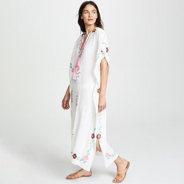 White Floral Embroidery Maxi Beach Dress