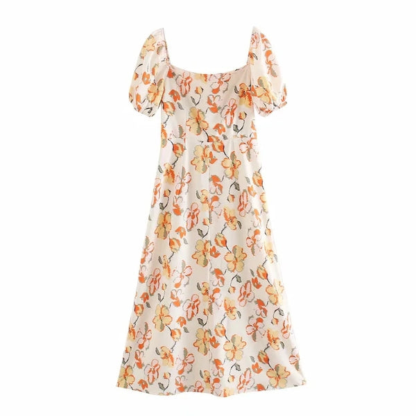 A-Line Square Collar Puff Sleeve Floral Print Summer Beach Dress XS to L