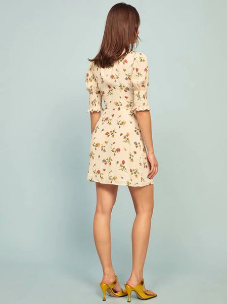 V Neck Short Sleeve Floral Print Mini Dress S to L