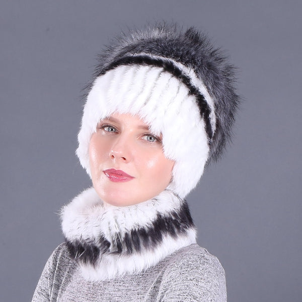 Knitted Rabbit Fur Beanies & Scarf