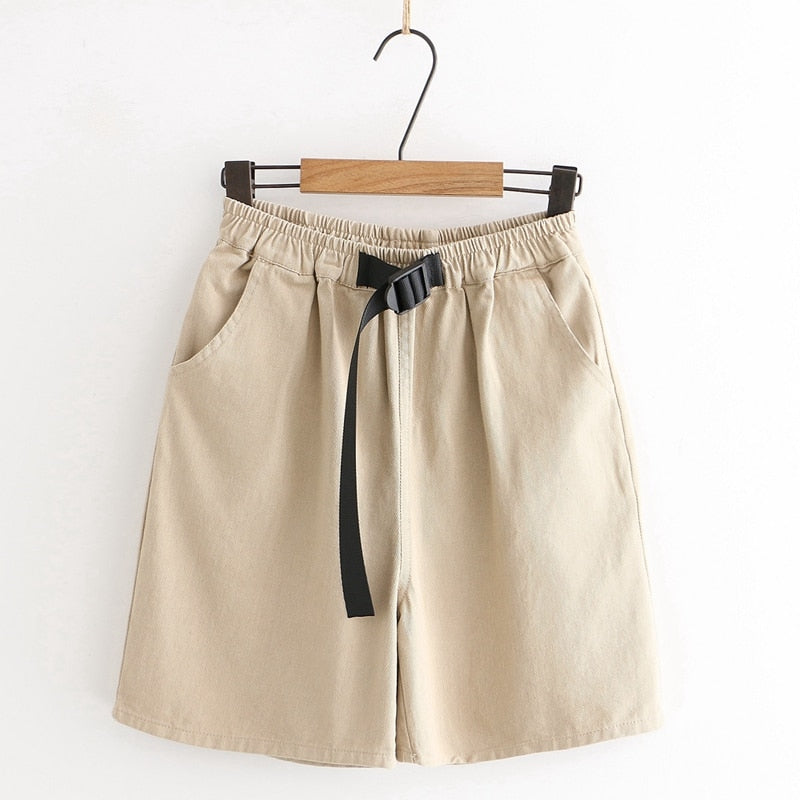 Casual High Waist Cotton Khaki Shorts  - Zaida Fashions