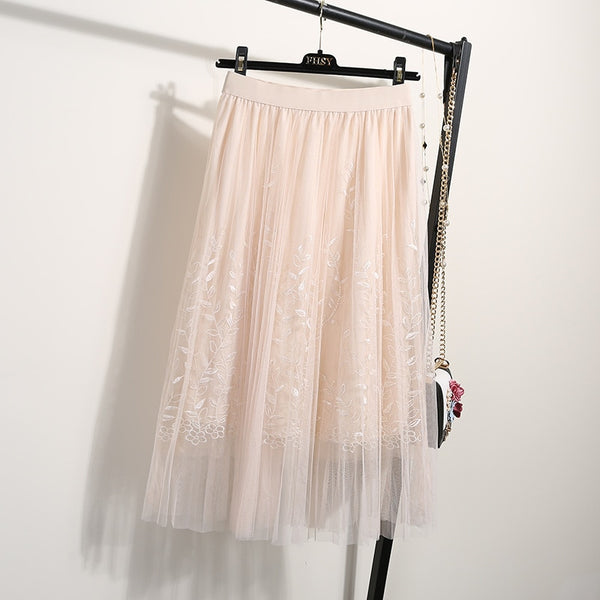 Embroidery Tulle Long Pleated A-line Lace Summer Skirts  - Zaida Fashions