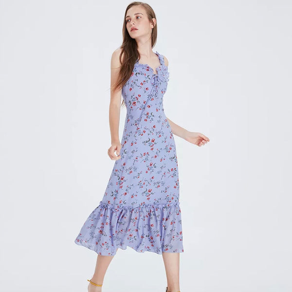 Sleeveless Straps Summer Boho Floral Print Dress  - Zaida Fashions
