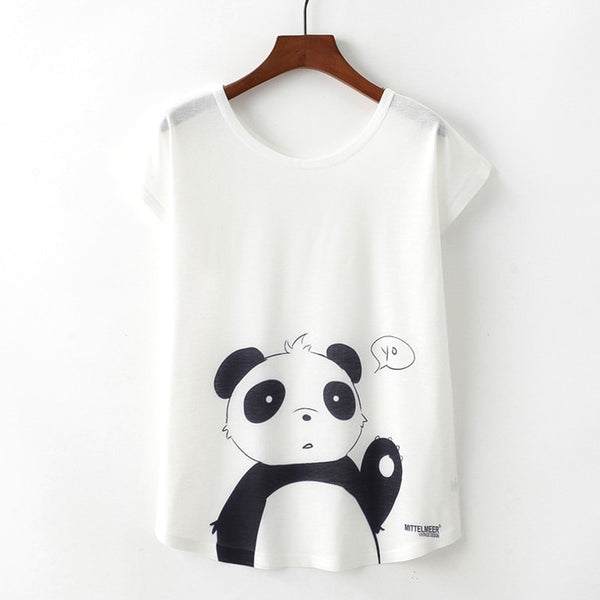 Panda Print T-shirt Short Sleeve O-neck Tops  - Zaida Fashions