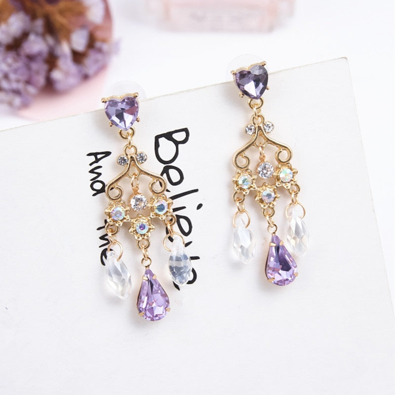 Purple Rhinestone Heart Earrings  - Zaida Fashions