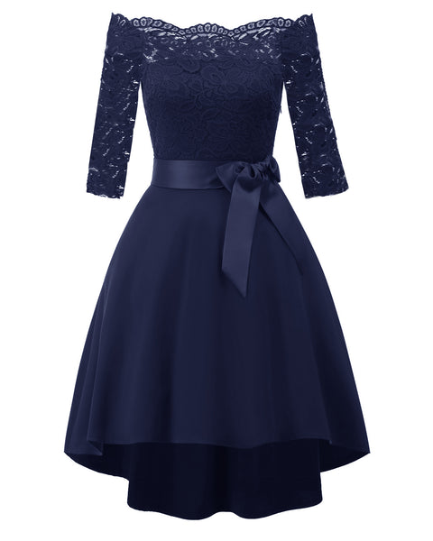 Blue Lace Off Shoulder Cocktail Dress  - Zaida Fashions