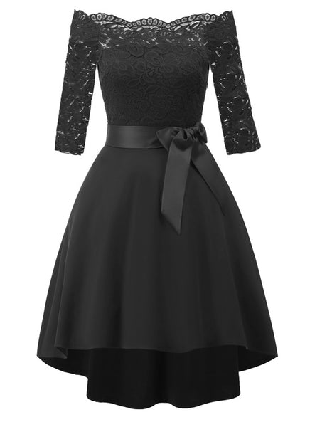 Black Lace Off Shoulder Cocktail Dress  - Zaida Fashions