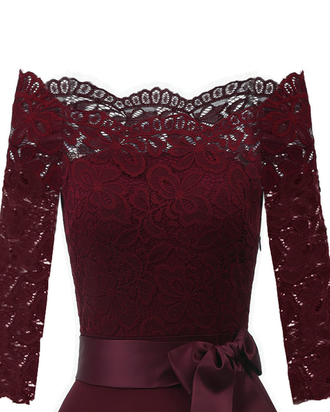 Dark Red Lace Off Shoulder Cocktail Dress  - Zaida Fashions