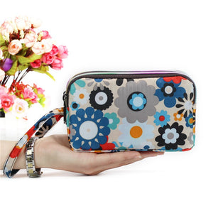 3 Layer Zipper Clutch Phone Wallet  - Zaida Fashions