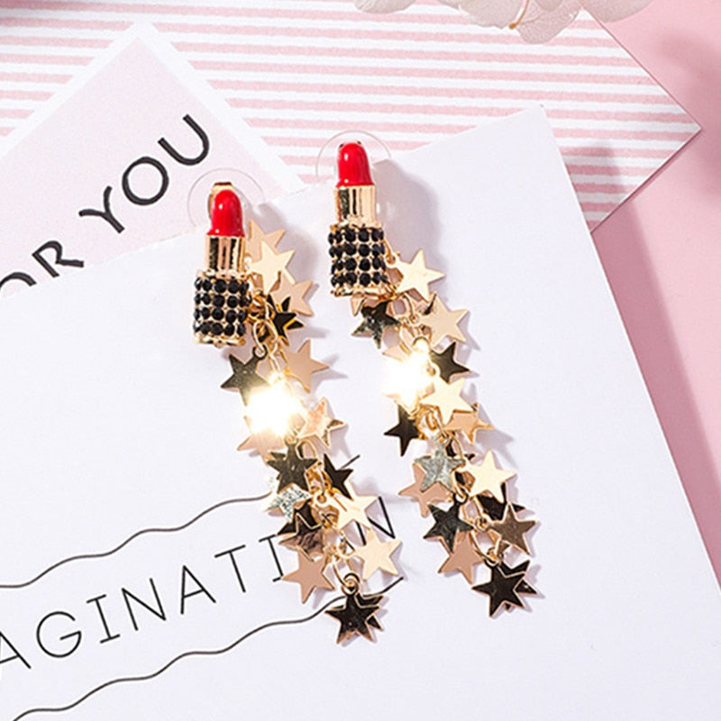 Red Lipstick Tassel Earrings  - Zaida Fashions