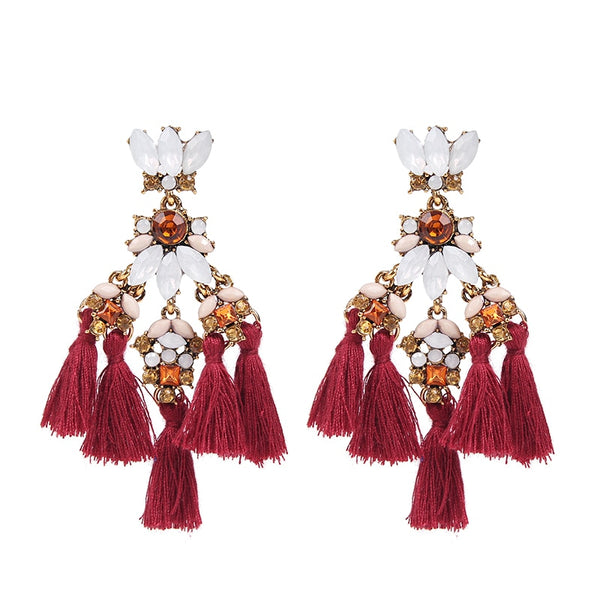 Vintage Rhinestone Beads Tassel Earrings for Women  - Zaida Fashions