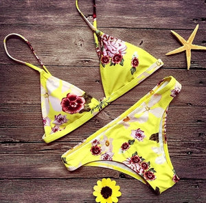 Yellow Flower Print Bikini  - Zaida Fashions