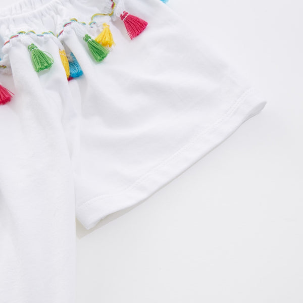 Summer Short Sleeve White Casual Tassel Tops  - Zaida Fashions