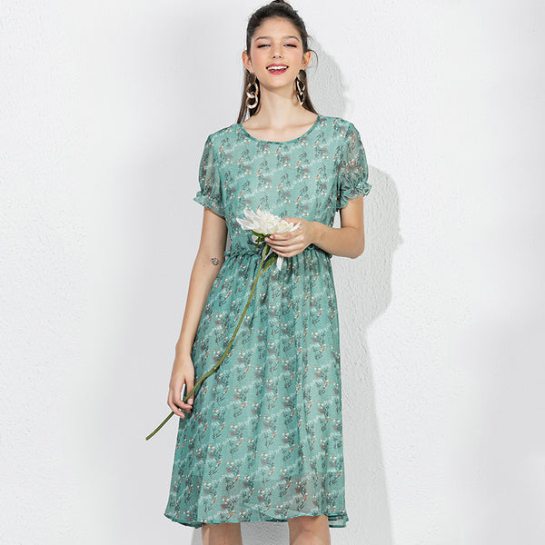 Green Floral Short Sleeves Casual Dress S - XXL  - Zaida Fashions