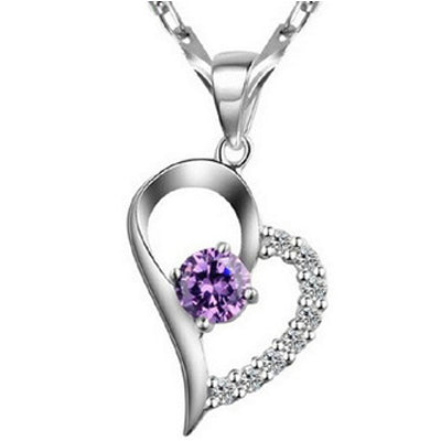 925 Silver Plated Heart Shape Pendant Necklace  - Zaida Fashions