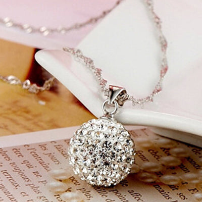 925 Silver Plated Ball Pendant Necklace  - Zaida Fashions