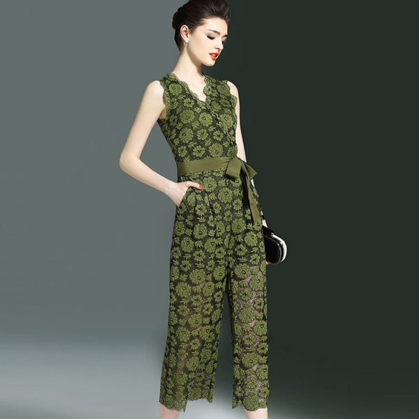 Green Floral Lace Sleeveless Jumpsuit S - XXL  - Zaida Fashions