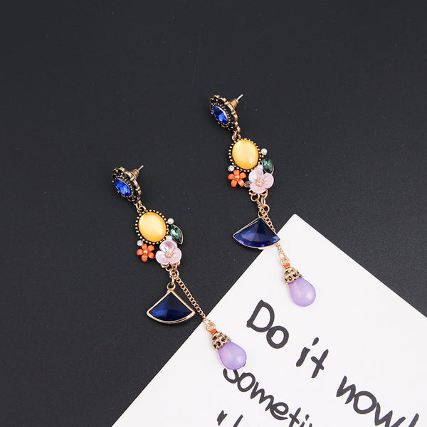 Vintage Colorful Flower Drop Crystal Earrings  - Zaida Fashions