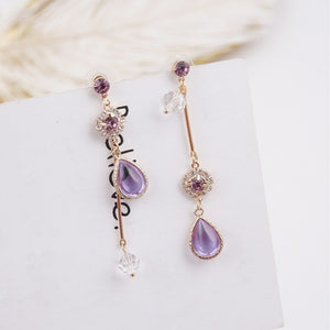 Rhinestone Water Drop Asymmetry Drop Earrings  - Zaida Fashions