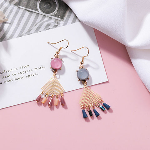 Asymmetry Fan Shape Crystal Tassel Drop Earrings  - Zaida Fashions