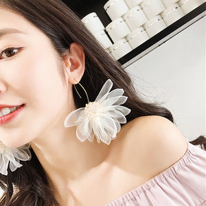 Cloth Flower Hook Earrings  - Zaida Fashions