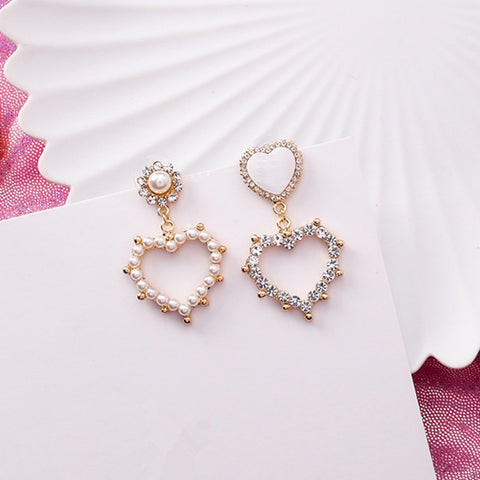 Rhinestone Asymmetry Love Heart Drop Earrings  - Zaida Fashions
