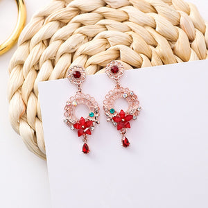 Flower Water Drop Rhinestone Earrings  - Zaida Fashions