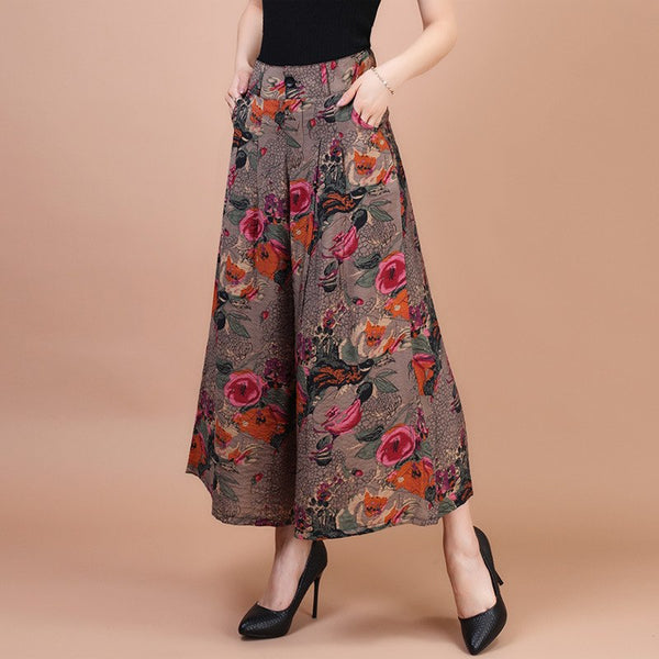Plus Size Wide Leg Linen Summer Skirt Pants S to 7XL  - Zaida Fashions