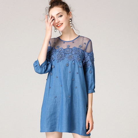Plus Size Flower Embroidery Denim Mini Dress S - 5XL  - Zaida Fashions