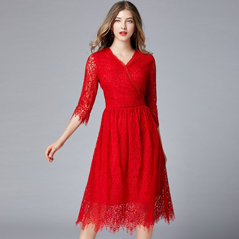 Plus Size Red Lace 3/4 Sleeve Draped Office Dress