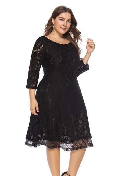 Plus Size Black Lace Dress  - Zaida Fashions