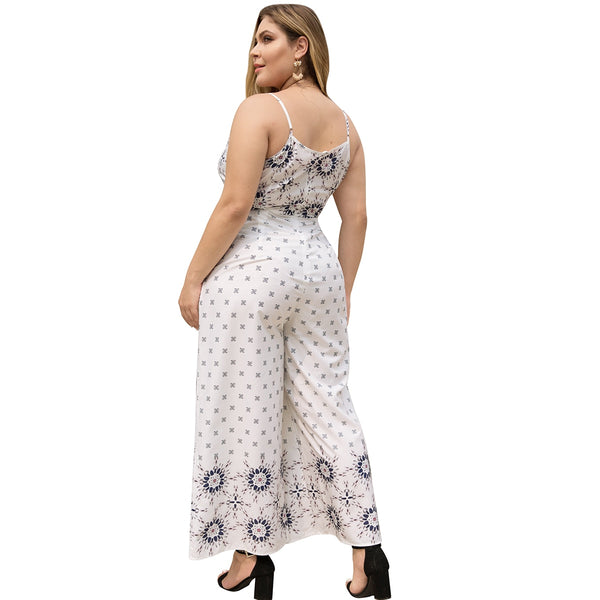 Plus size casual white rompers XL - 4XL  - Zaida Fashions