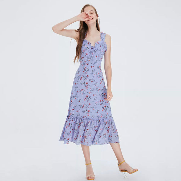 Purple Floral Sleeveless V neck Midi Dress  - Zaida Fashions