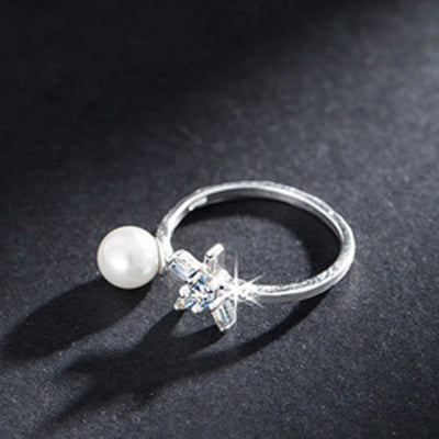 925 Silver Plated Pearl Ring  - Zaida Fashions