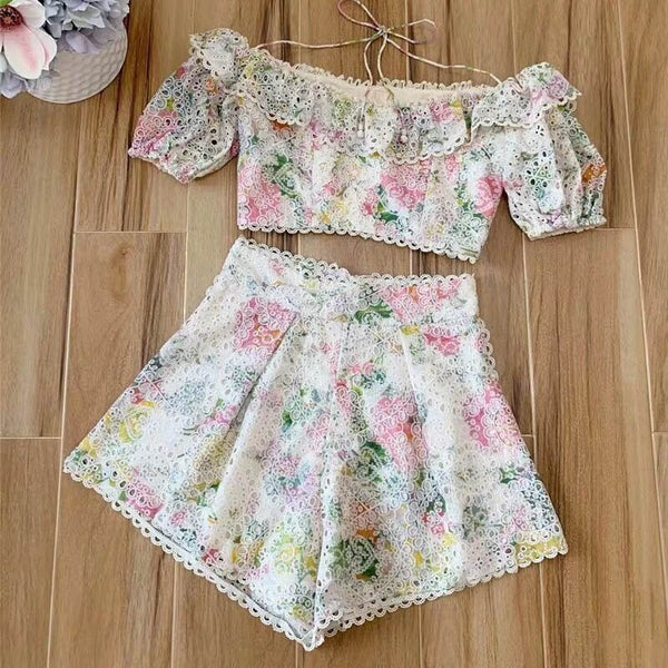 Floral Print Off Shoulder Lace Shorts Tops Set  - Zaida Fashions