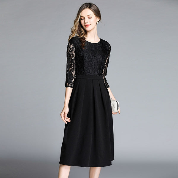 Round Neck Lace Party Dress S to XXL  - Zaida Fashions