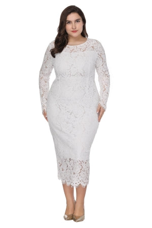 Plus Size Full Sleeve White Lace Dress  - Zaida Fashions