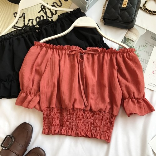 Summer Slash Neck Short Casual Crop Tops  - Zaida Fashions