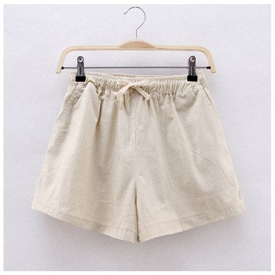 Summer Plus Size Hight Waist Cotton Linen Shorts S - 3XL  - Zaida Fashions